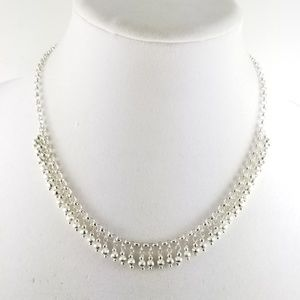 """Sterling 18"""" Rolo Link Bead Dangle Necklace"""